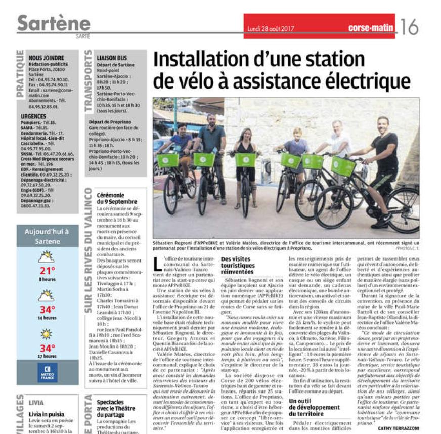 Installation d'une station de vélo à assistance électrique à Propriano - Sartène - APPebike - Corse Matin