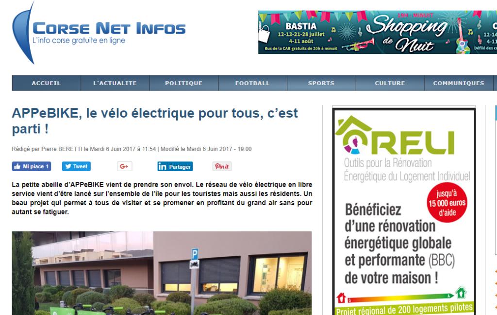 Le vélo électrique pour tous, c'est parti ! Corse Net Infos