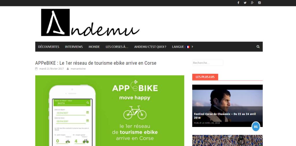 APPeBIKE : Le 1er réseau de tourisme ebike arrive en Corse - Andemu