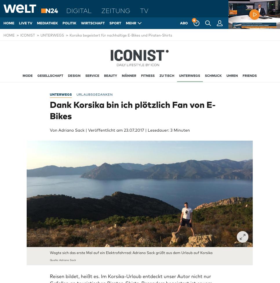 Die Welt - Iconist : Dank Korsika bin ich plötzlich Fan von E-Bikes