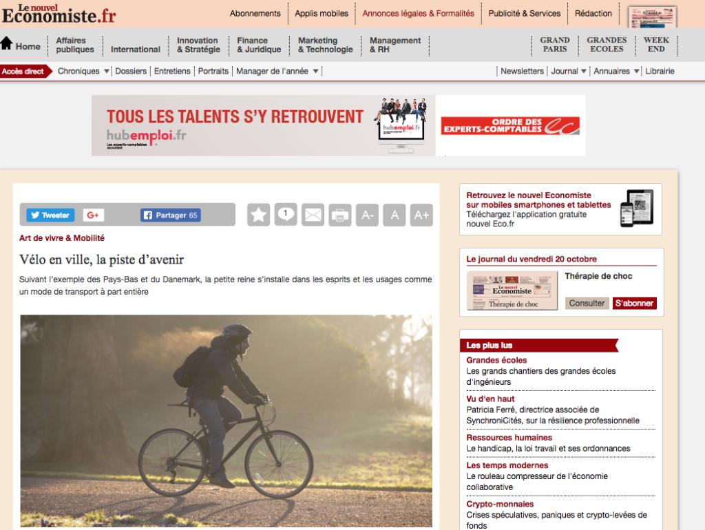 Vélo en ville, la piste d'avenir - Le nouvel économiste - APPebike - vélo électrique libre-service