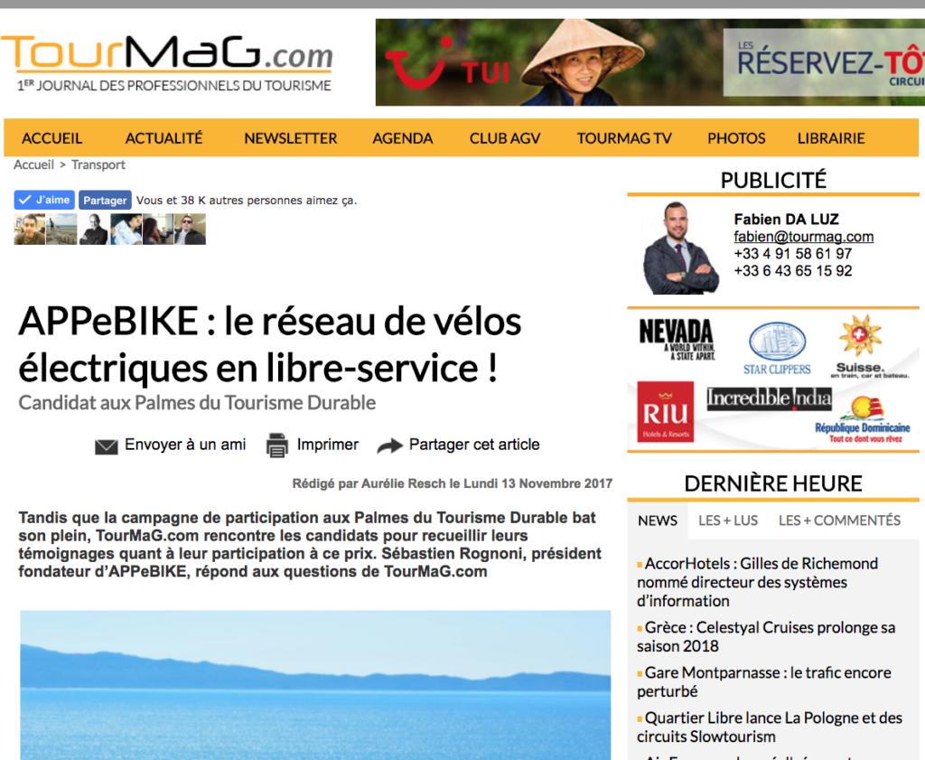 Tourmag : APPebike - Le réseau de vélos électriques en libre-service