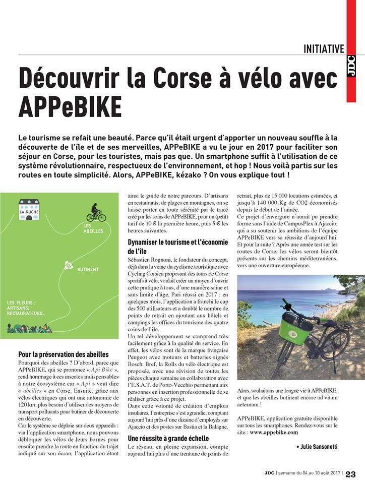Le Journal de la Corse - Découvrir la Corse à vélo avec APPebike