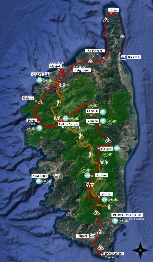 L'itinéraire GT20 en Corse avec les connexions au GR20 et les bornes de recharge Bosch pour vélos à assistance électrique